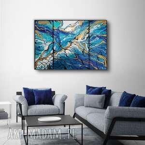 rafa w sieci - abstrakcja ręcznie malowana 100x70