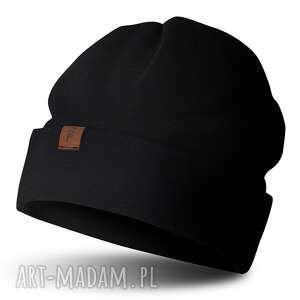czapka beanie jesienno-zimowa, beanie, wywijana, czarna, damska