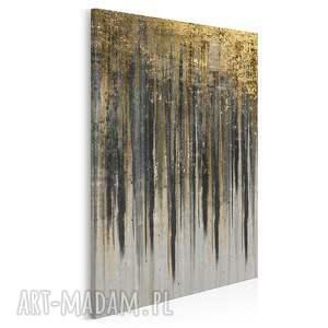 obraz na płótnie - wzór czarny złoty w pionie 50x70 cm 90407, abstrakcja
