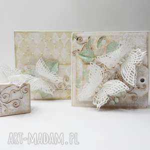 hand-made scrapbooking kartki motyle - kartka w ozdobnym pudełku i malutkie pudełeczko