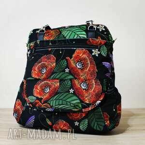 na ramię torebka listonoszka - maki, kwiaty, listonoszka, pakowna, prezent
