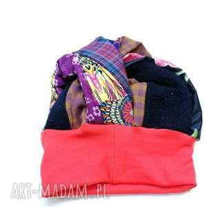 czapka turbanowa etno boho patchwork, codzienna, folk