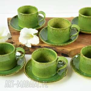 filiżanka ceramiczna ze spodkiem - zestaw dla 6 osób, ceramika