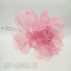 hand-made ozdoby do włosów różowa kokówka