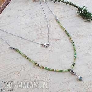 zieleń turmalinu - naszyjnik, srebrna biżuteria, srebrny naszyjnik