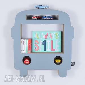 Półka na książki zabawki BUS ecoono | szary, półka, chłopiec, dziewczynka, organizer