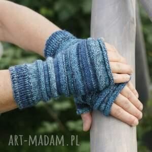 handmade rękawiczki mitenki w odcieniach turkusu