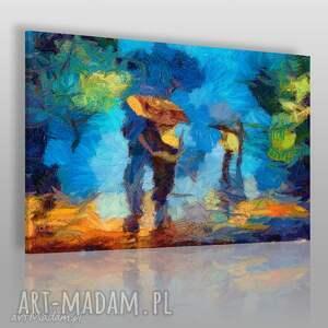 Obraz na płótnie - PARA MIŁOŚĆ SPACER 120x80 cm (76001), park, parasol, abstrakcja