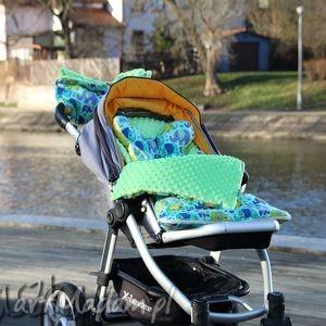 śpiworek minky do wózka fotelika na sanki kolorowe słonie/zieleń