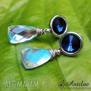 eleganckie kolczyki z kwarcem mistycznym i kryształkami swarovski