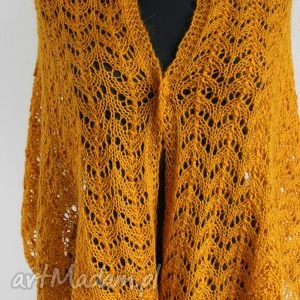 ażurowy musztardowy szal na drutach - szal, ażurowy, ciepły, miękki