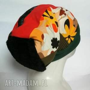 ręcznie zrobione czapki czapka turbanowa etno boho patchwork - box 44 na podszewce