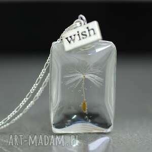 srebro 925 dmuchawiec naszyjnik - dmuchawiec, szkło, srebro, wish, życzenie