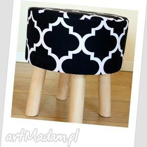 Stołek Fjerne S ( czarna koniczyna), puf, taboret, stołek, dekoracja, siedzisko