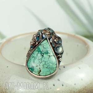 turkusowa łza w kwiatach pierścionek srebrny a721, turkus