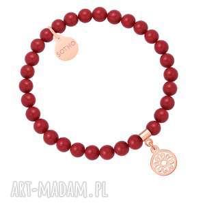 sotho czerwona bransoletka z pereł swarovski® crystal, perłowa