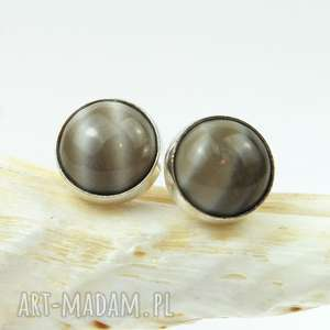 Prezent d068 Drobinki z krzemieniem pasiastym, kolczyki-srebrne, sztyfty-srebrne
