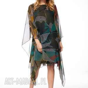 sukienka loan, wzorzysta, luźna, jesienna, oryginalna, szyfonowa sukienki