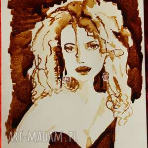 blondynka w kolczykach - obraz kawą malowany, portret, blondynka, blond, wiśnie
