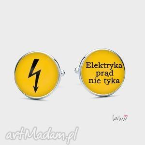 spinki do mankietów elektryk, grafika, prąd, zawód energia, prezent
