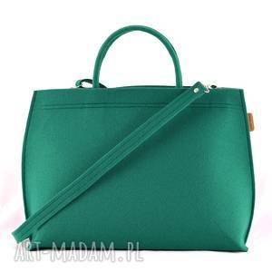 ręcznie wykonane na ramię duża torba typu kuferek w kolorze soczystej butelkowej zieleni