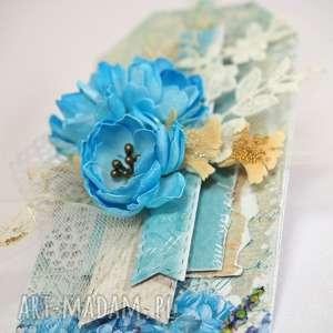 Niebieski tag, kartka, życzenia, scrapbooking