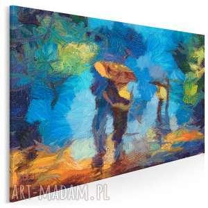 obraz na płótnie - para miłość spacer 120x80 cm 76001, park, parasol