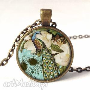 wiktoriański paw - medalion z łańcuszkiem, naszyjnik, retro