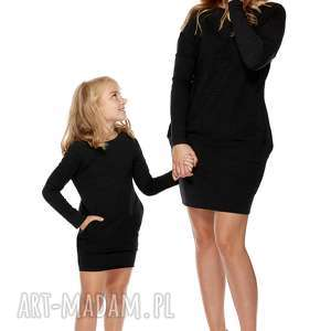 Mama i córka Sukienka dla córki LD2/1, sukienka, dresowa, kieszenie, głębokidekolt