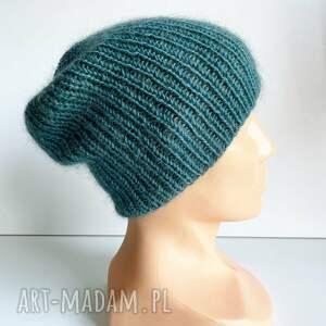 ręczne wykonanie czapki ręcznie robiona czapka hand made ściągacz 100% baby merino plus