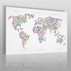 obraz na płótnie - mapa kropki biała 120x80 cm 13201, kropki, mapa, kółka