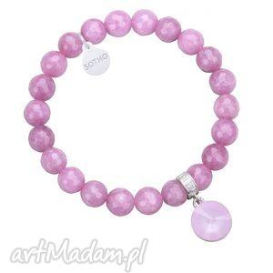 autorskie bransoletki fioletowa bransoletka z fasetowanego jadeitu z kryształem swarovski® crystal