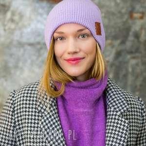 czapa dwustronna logo z ekoskórki lavendowe love, czapka dwustronna