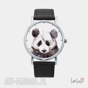 święta prezent, zegarki zegarek z grafiką panda, czarno, biała, puszysta