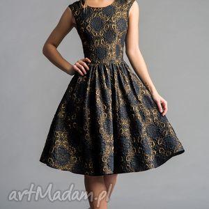 sukienka scarlett marszczona midi dolores ciemny granat - midi, błyszcząca