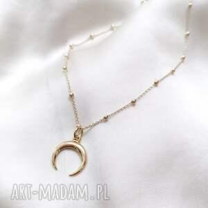 naszyjnik - półksiężyc, złoto, naszyjnik, łańcuszek, księżyc, zawies