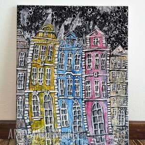 praga deszczowy wieczór, dom, obraz, sztuka, 4mara, prezent, architektura
