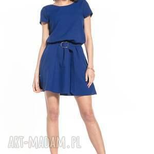 sukienki elegancka sukienka mini ściągnięta w talii, t333, granatowa