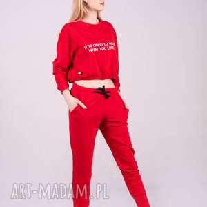 spodnie dresowe damskie ze ściagaczem-czerwone, spodnie, bluzki, kurtki, bluzy