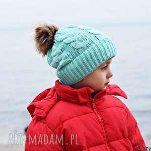 czapka zimowa z pomponem, czapka na zimę, ciepła miętowa, ciepła