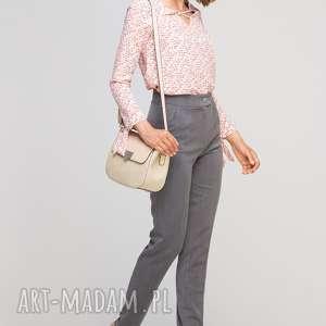 Spodnie bez mankietów, SD114 grafit, wysokie, eleganckie, kant, grafitowe, kieszenie