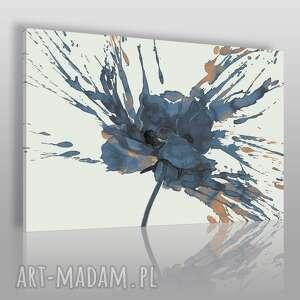 ręczne wykonanie obrazy obraz na płótnie - kwiat mak granatowy - 120x80 cm (67403)