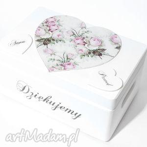 Ślubne pudełko na koperty Koppertówka Personalizowane Serce Napis Dziękujemy