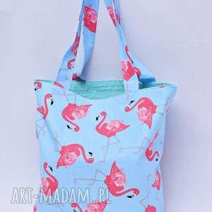 Torba na zakupy Shopperka flamingi mięta, torba, zakupy, shopperka, ramię,