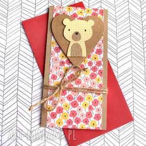ręcznie robione kartki miś kwiatuszek: kartka na roczek, urodziny:: format