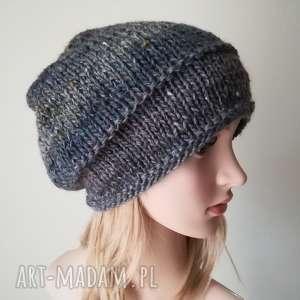 czapki tweedowe szarości super czapka, rękodzieło, prezent, tweed, zima