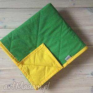 Narzuta żółto-zielona koce i narzuty bywkml kropki, wiosenna