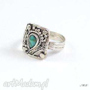 turkus, pierścionek, srebro, oksydowany, oryginalny