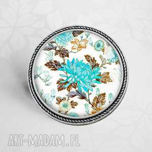 Prezent broszka z kwiatami :: RETRO KWIATY W SZKLE, kwiatuszki, wiosenna, niebieska