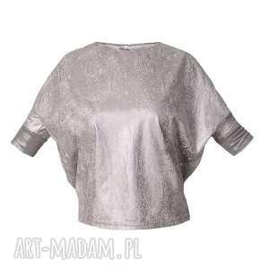 bluzki srebrna bluzka z eko zamszu, srebrny, marmurek, zamsz, eko, połysk, metaliczny